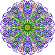 Blue Lavender Floral Kaleidoscope Print by Carol F Austin