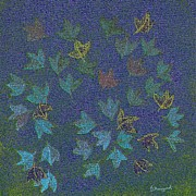 Moignard Prints - Blue Leaf Abstract Print by Barbara Moignard