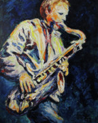Sax Painting Originals - Blue Les by Shannon Grissom