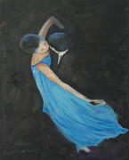 Ballroom Posters - Blue Light Dancers Poster by Susan Fuglem