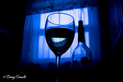 Dinner Glass Art - Blue Light Moscato Wine by Daniel Camacho
