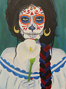 Sugar Skull Posters - Blue Lily Poster by Sonia Orban-Price