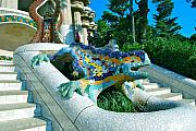 Gaudi Framed Prints - Blue Lizard Framed Print by Dorota Nowak