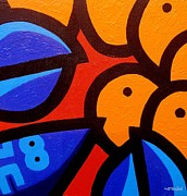 Shadows Paintings - Blue Lobster And Oranges by John  Nolan