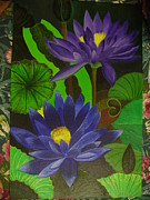 Acrylic On Canvas Board Paintings - Blue Lotus by Chandrakant Ekkirala