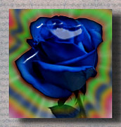 Magic Glass Art Posters - Blue Magic Rose Poster by Sharri Plaza