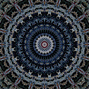 Batik Digital Art Posters - Blue Mandala Poster by Kathi Shotwell