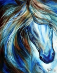 Baldwin Posters - Blue Mane Event Equine Abstract Poster by Marcia Baldwin