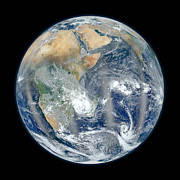 Earth Day Posters - Blue Marble 2012 - Eastern Hemisphere of Earth Poster by Nikki Marie Smith