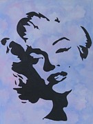 Marilyn Munroe Paintings - Blue Marilyn by Rosetta  Jallow