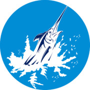 Marlin Prints - Blue Marlin circle Print by Aloysius Patrimonio
