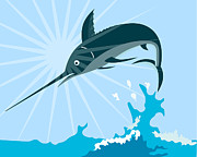 Blue Marlin Metal Prints - Blue Marlin Fish Jumping Retro Metal Print by Aloysius Patrimonio