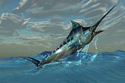 Game Fish Digital Art Posters - Blue Marlin Jump Poster by Corey Ford