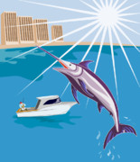 Blue Marlin Posters - Blue Marlin jumping Poster by Aloysius Patrimonio