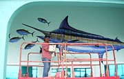 Sharks Paintings - Blue Marlin Motors mural by Carey Chen