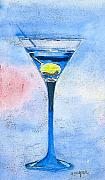Martini Prints - Blue Martini Print by Arline Wagner