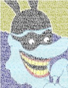 Yellow Submarine Movie Framed Prints - Blue Meanie Yellow Submarine Lyrics Mosaic Framed Print by Paul Van Scott