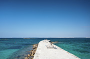 Clear Sky Art - Blue Mediterranean Sea And Pier by Guido Mieth