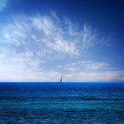 Blue Sailboat Posters - Blue Mediterranean Poster by Stylianos Kleanthous
