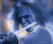 Flute Player Prints - Blue Melody Print by Bob Salo