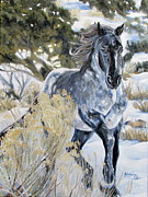 Mustang Paintings - Blue by Melody Perez