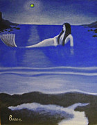 Neo Expressionism Paintings - Blue mermaid by Chris Boone