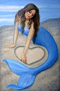Beautiful Woman Painting Posters - Blue Mermaids Heart Poster by Sue Halstenberg