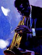 Trumpet Paintings - Blue Miles by David Lloyd Glover