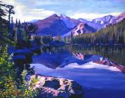 Blue Mirror Lake Print by David Lloyd Glover