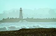 Santa Cruz Pier Prints - Blue Mist 2 Print by Marilyn Hunt