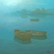 Serene Landscape Painting Originals - Blue Mist by Steve Mitchell