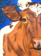 Closeup Pastels Prints - Blue Moo Print by Michelle Hayden-Marsan