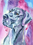 Great Dane Portrait Framed Prints - Blue Mood - Great Dane Framed Print by Lyn Cook