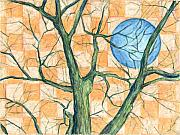 Branches Pastels Posters - Blue Moon Checkered Sky Poster by John Terwilliger