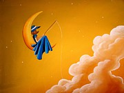 Whimsy Posters - Blue Moon Poster by Cindy Thornton