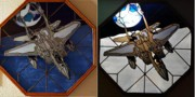 Fighter Glass Art - Blue Moon Fighter by Dean Manemann