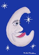 Stars And Moon Prints - Blue Moon Print by Gordon Wendling