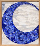 Celestial Glass Art - Blue Moon by Melissa Sullivan