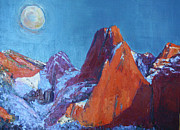 Zion National Park Painting Prints - Blue Moon Over Zion Print by Kathleen Strukoff