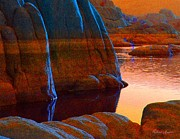 Watson Lake Prints - Blue Moon Print by Robert Hooper