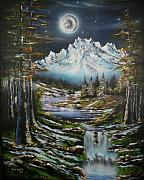Snowy Night Night Prints - Blue Moon Shine Print by Tony Vegas