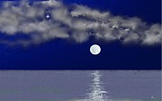 Sea Moon Full Moon Prints - Blue Moon Print by Tony Rodriguez