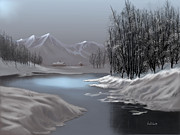 Snow Scenes Digital Art - Blue Moonlight by Sena Wilson