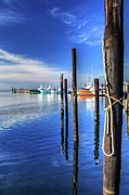Fishing Art Cards Prints - Blue Morning at Oregon Inlet I Print by Dan Carmichael