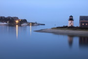 New England Lighthouse Prints - Blue Morning Print by Roupen  Baker