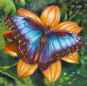 Blend Painting Prints - Blue Morpho Butterfly Print by Nancy Tilles
