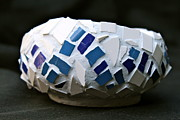 Artwork Ceramics - Blue mosaic bowl by Ghazel Rashid