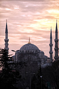 Sunset Posters Posters - Blue Mosque at Night Poster by John Rizzuto