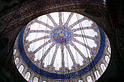 Mosque Photos - Blue Mosque Ceiling by John Rizzuto