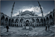 Blue Mosque Posters - Blue Mosque courtyard Poster by Joan Carroll